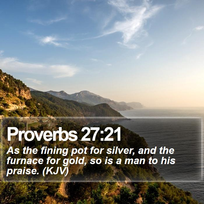 Proverbs 27:21 - As the fining pot for silver, and the furnace for gold, so is a man to his praise. (KJV)