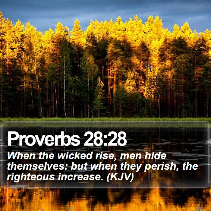Proverbs 28:28 - When the wicked rise, men hide themselves: but when they perish, the righteous increase. (KJV)