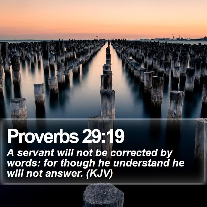 Proverbs 29:19 - A servant will not be corrected by words: for though he understand he will not answer. (KJV)