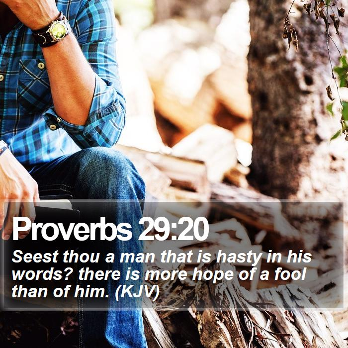 Proverbs 29:20 - Seest thou a man that is hasty in his words? there is more hope of a fool than of him. (KJV)