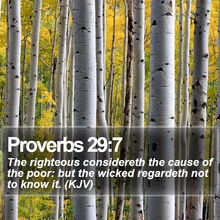 Proverbs 29:7 - The righteous considereth the cause of the poor: but the wicked regardeth not to know it. (KJV)