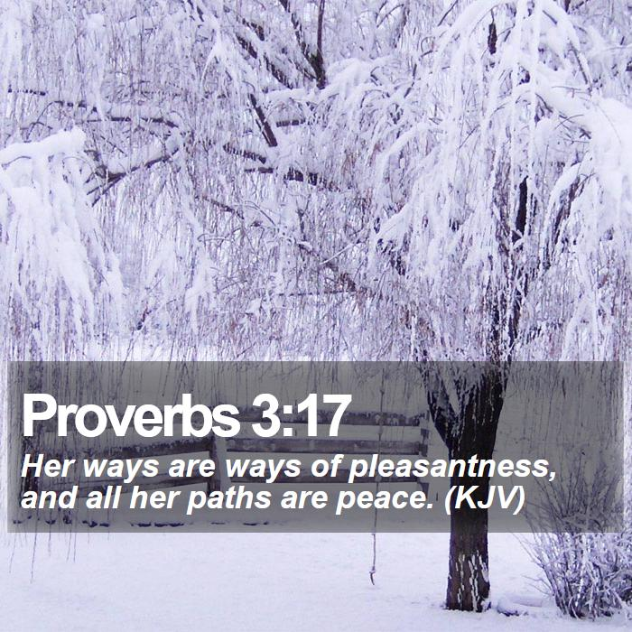 Proverbs 3:17 - Her ways are ways of pleasantness, and all her paths are peace. (KJV)