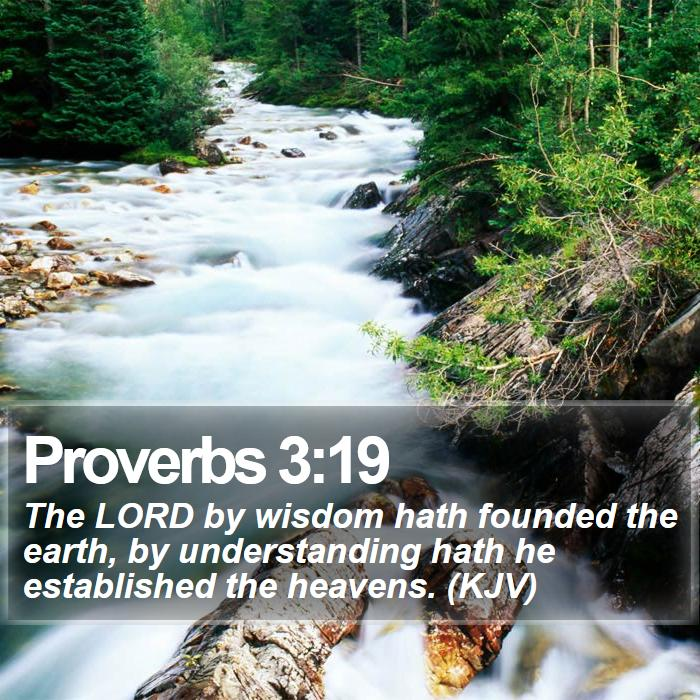 Proverbs 3:19 - The LORD by wisdom hath founded the earth, by understanding hath he established the heavens. (KJV)