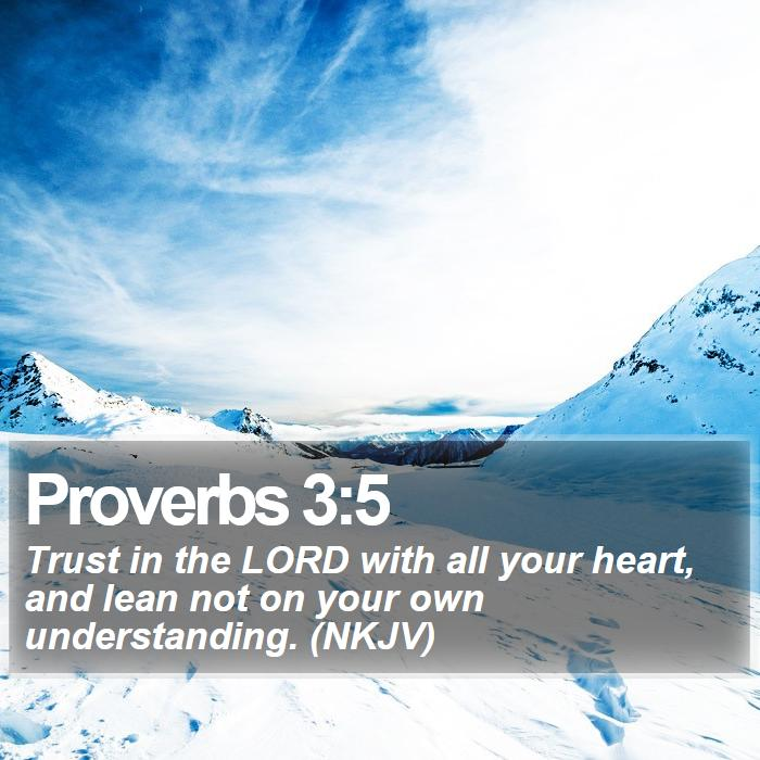 Proverbs 3:5 - Trust in the LORD with all your heart, and lean not on your own understanding. (NKJV)