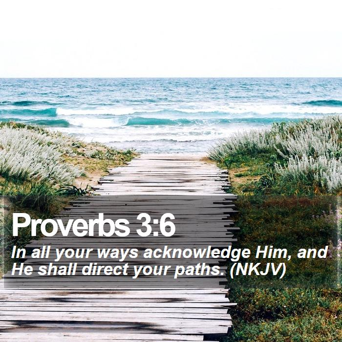 Proverbs 3:6 - In all your ways acknowledge Him, and He shall direct your paths. (NKJV)