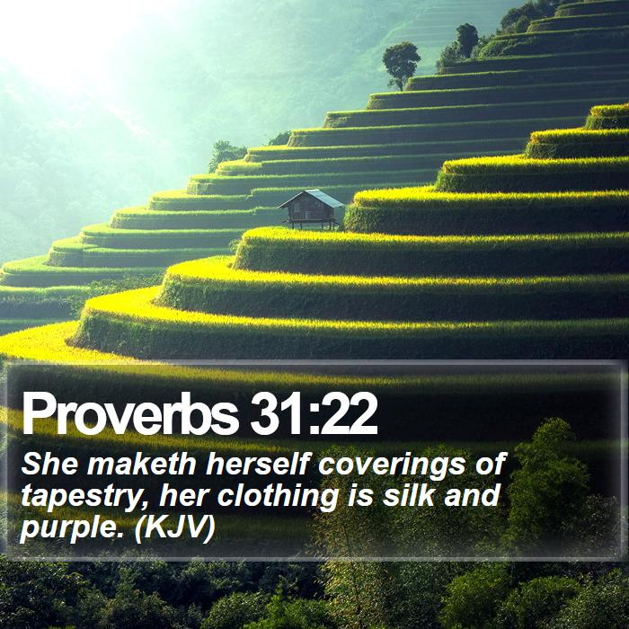 Proverbs 31:22 - She maketh herself coverings of tapestry, her clothing is silk and purple. (KJV)