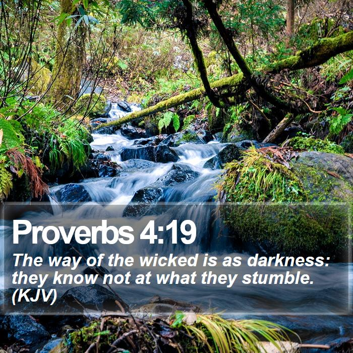 Proverbs 4:19 - The way of the wicked is as darkness: they know not at what they stumble. (KJV)