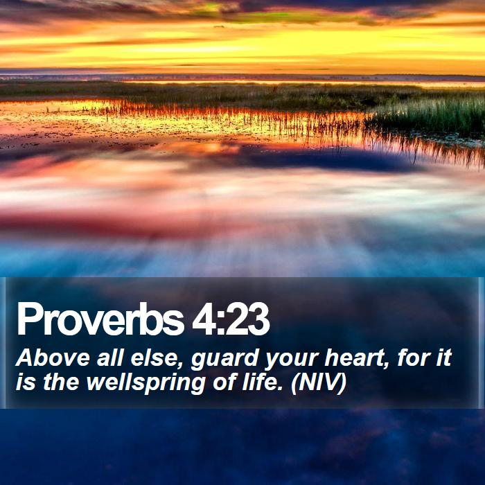 Proverbs 4:23 - Above all else, guard your heart, for it is the wellspring of life. (NIV)