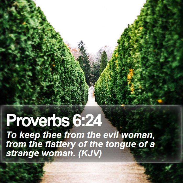 Proverbs 6:24 - To keep thee from the evil woman, from the flattery of the tongue of a strange woman. (KJV)
