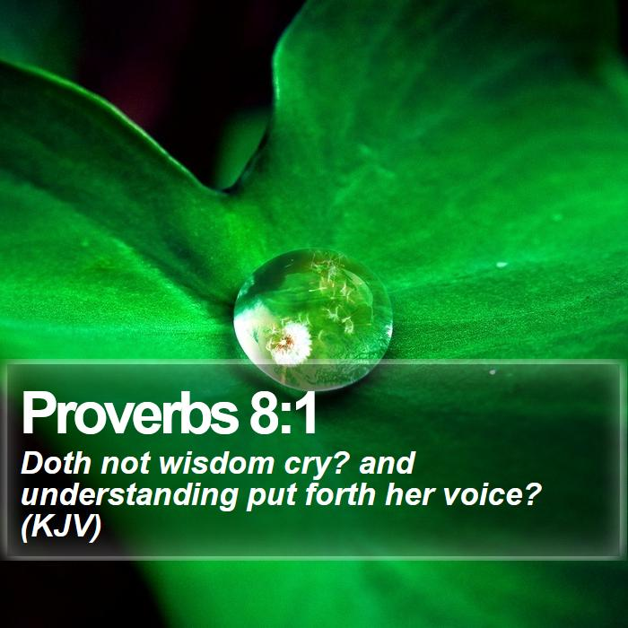 Proverbs 8:1 - Doth not wisdom cry? and understanding put forth her voice? (KJV)