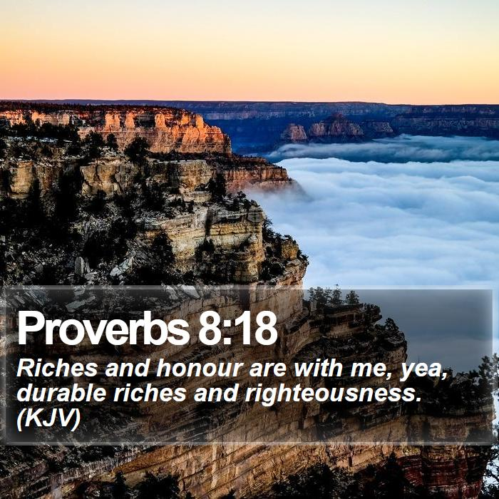 Proverbs 8:18 - Riches and honour are with me, yea, durable riches and righteousness. (KJV)