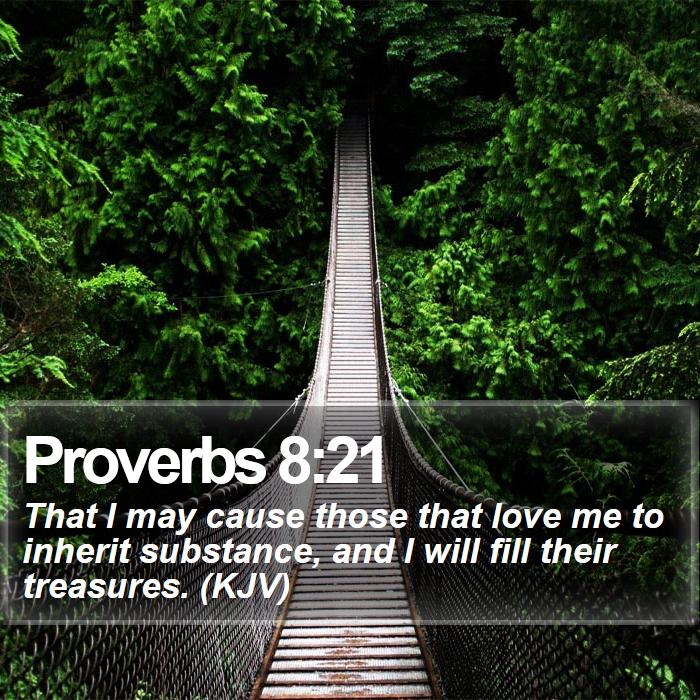 Proverbs 8:21 - That I may cause those that love me to inherit substance, and I will fill their treasures. (KJV)