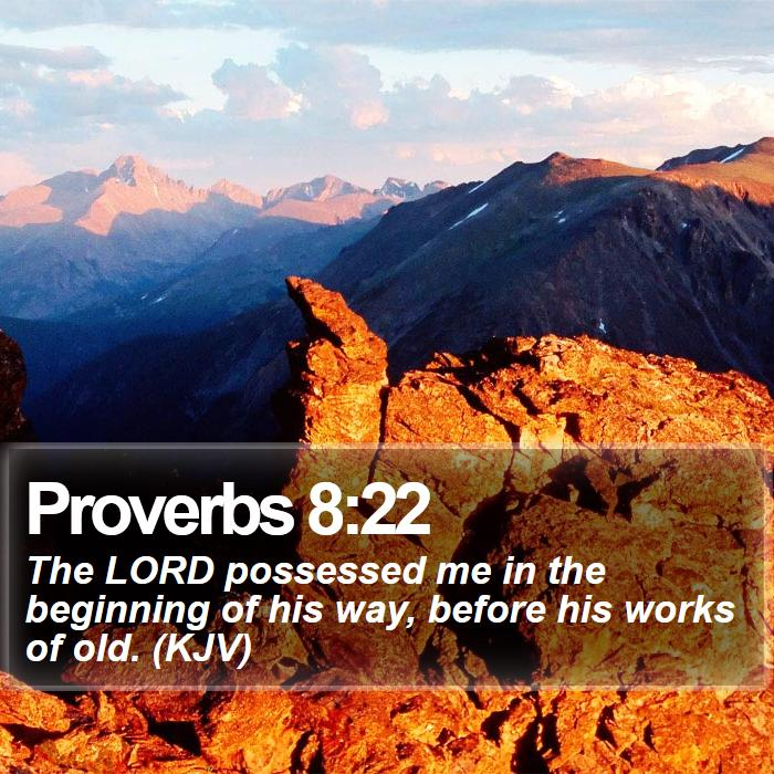 Proverbs 8:22 - The LORD possessed me in the beginning of his way, before his works of old. (KJV)