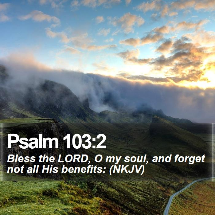 Psalm 103:2 - Bless the LORD, O my soul, and forget not all His benefits: (NKJV)
