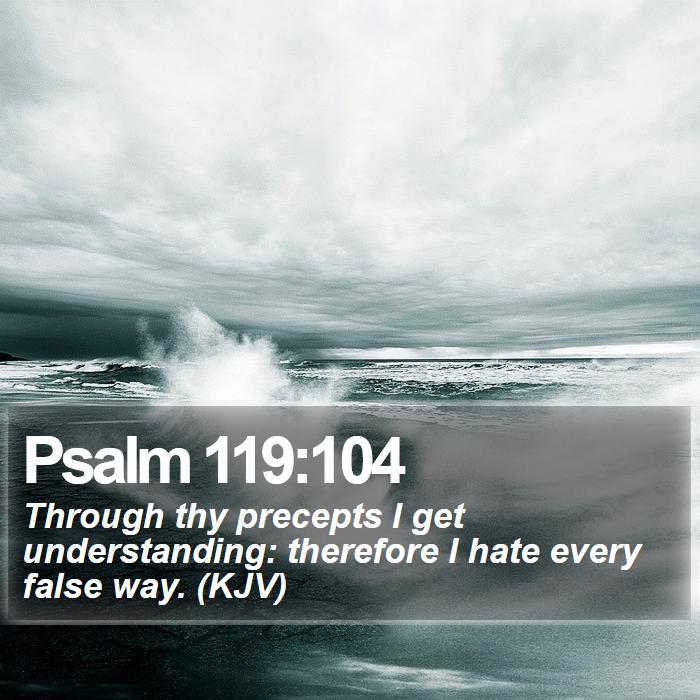 Psalm 119:104 - Through thy precepts I get understanding: therefore I hate every false way. (KJV)