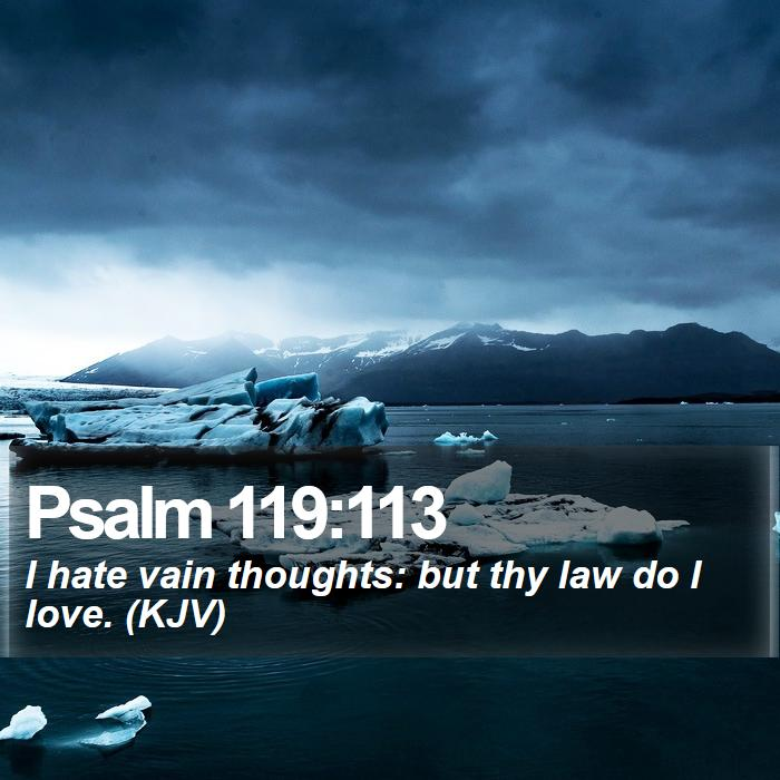 Psalm 119:113 - I hate vain thoughts: but thy law do I love. (KJV)