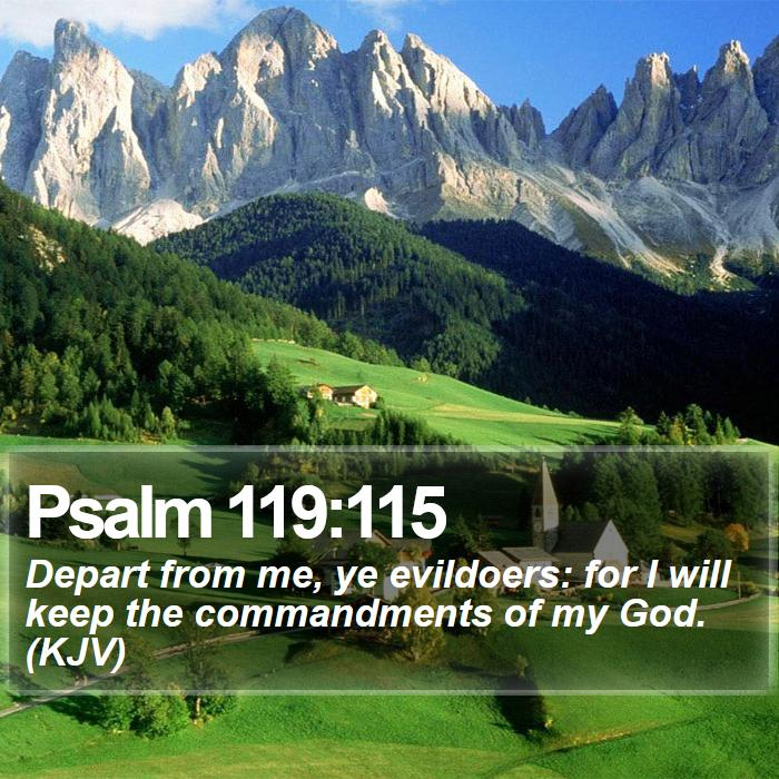 Psalm 119:115 - Depart from me, ye evildoers: for I will keep the commandments of my God. (KJV)