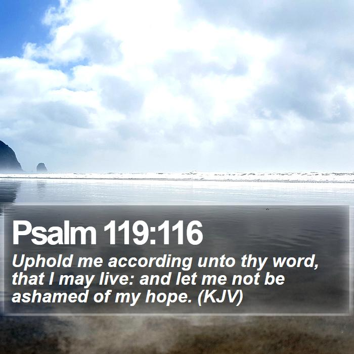 Psalm 119:116 - Uphold me according unto thy word, that I may live: and let me not be ashamed of my hope. (KJV)