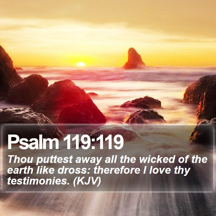 Psalm 119:119 - Thou puttest away all the wicked of the earth like dross: therefore I love thy testimonies. (KJV)