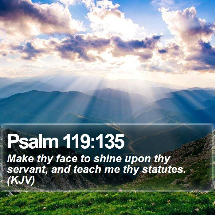 Psalm 119:135 - Make thy face to shine upon thy servant, and teach me thy statutes. (KJV)