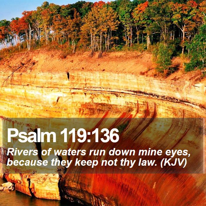 Psalm 119:136 - Rivers of waters run down mine eyes, because they keep not thy law. (KJV)