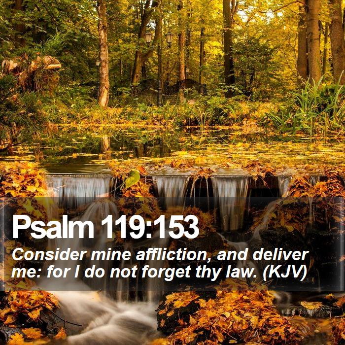 Psalm 119:153 - Consider mine affliction, and deliver me: for I do not forget thy law. (KJV)