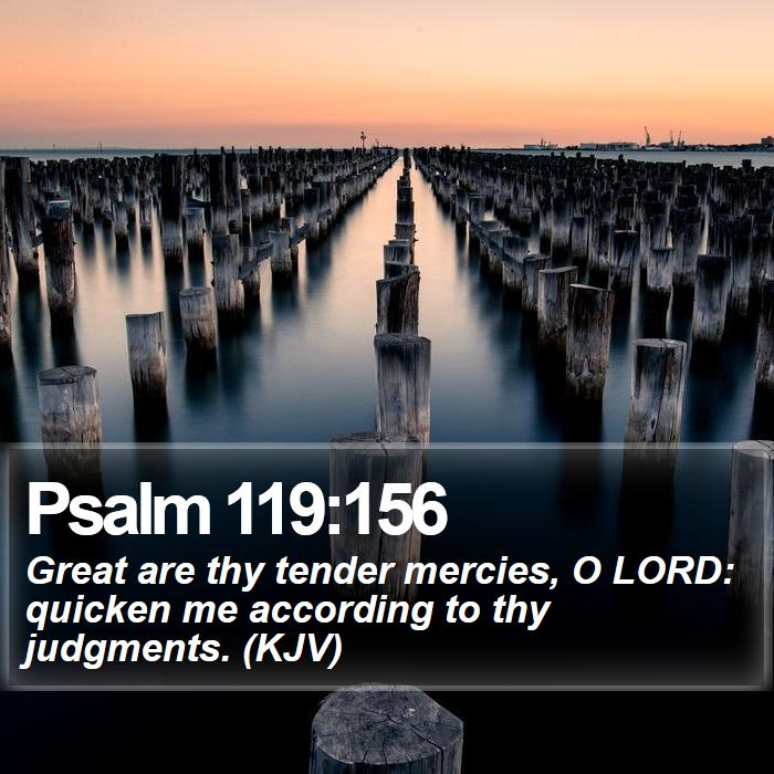 Psalm 119:156 - Great are thy tender mercies, O LORD: quicken me according to thy judgments. (KJV)