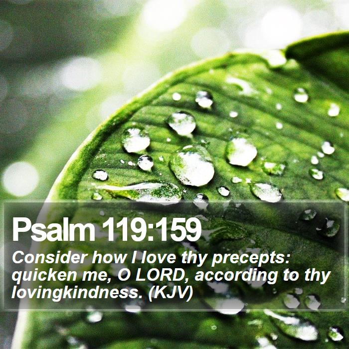 Psalm 119:159 - Consider how I love thy precepts: quicken me, O LORD, according to thy lovingkindness. (KJV)