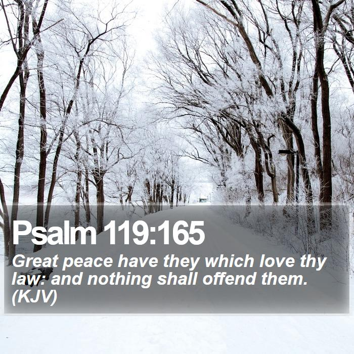 Psalm 119:165 - Great peace have they which love thy law: and nothing shall offend them. (KJV)