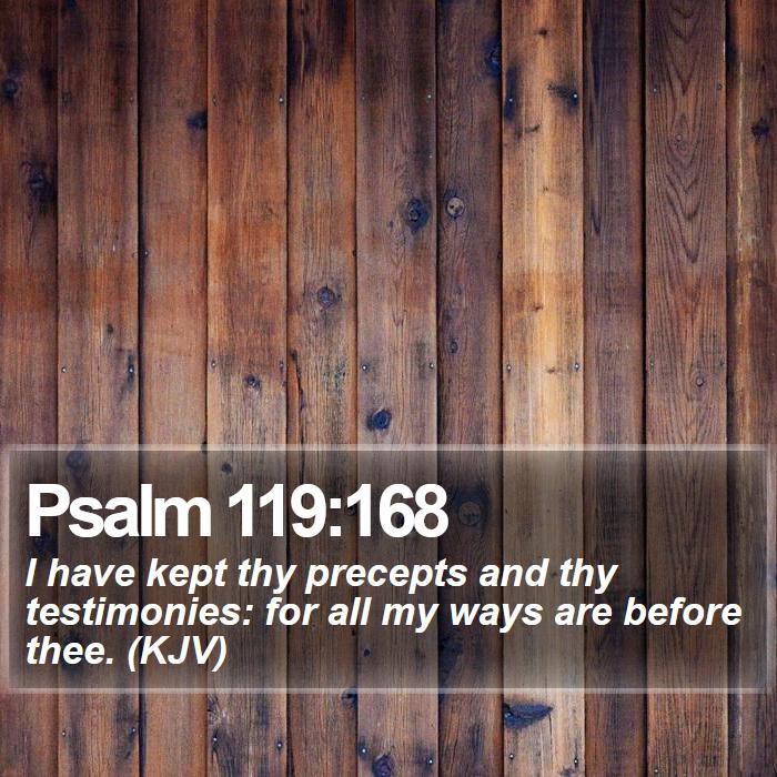 Psalm 119:168 - I have kept thy precepts and thy testimonies: for all my ways are before thee. (KJV)