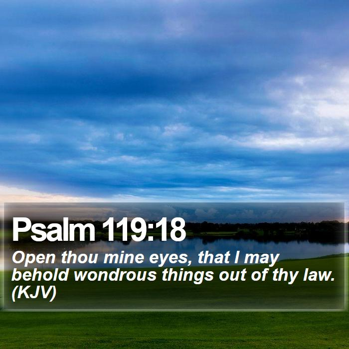 Psalm 119:18 - Open thou mine eyes, that I may behold wondrous things out of thy law. (KJV)