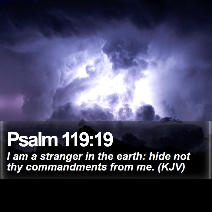 Psalm 119:19 - I am a stranger in the earth: hide not thy commandments from me. (KJV)