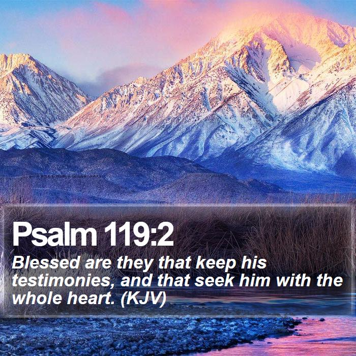 Psalm 119:2 - Blessed are they that keep his testimonies, and that seek him with the whole heart. (KJV)