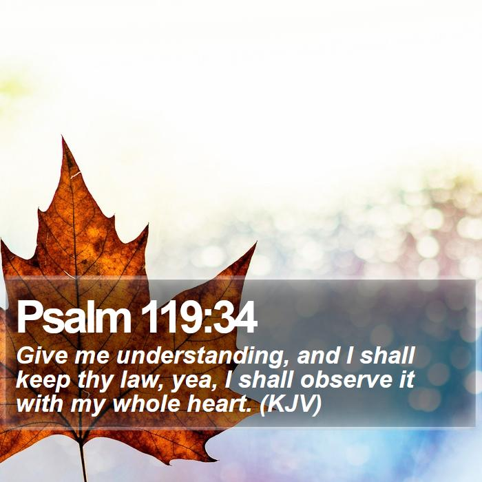 Psalm 119:34 - Give me understanding, and I shall keep thy law, yea, I shall observe it with my whole heart. (KJV)