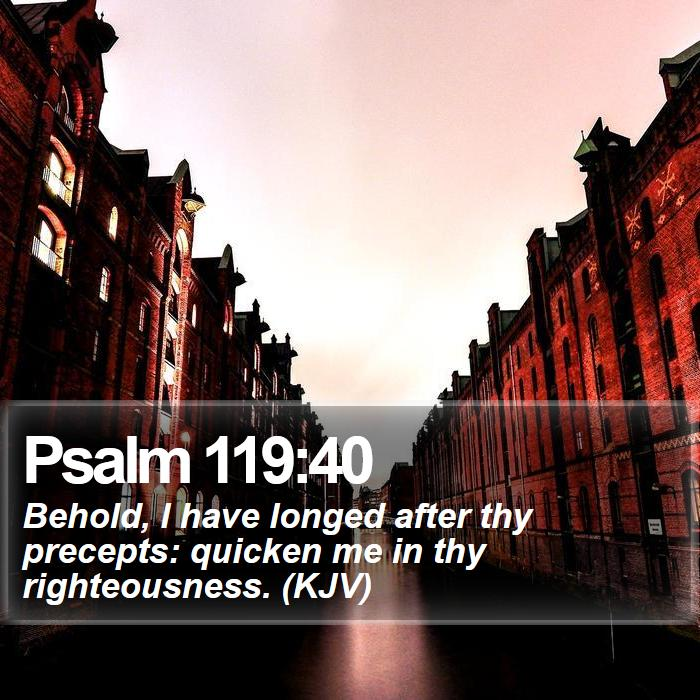 Psalm 119:40 - Behold, I have longed after thy precepts: quicken me in thy righteousness. (KJV)
