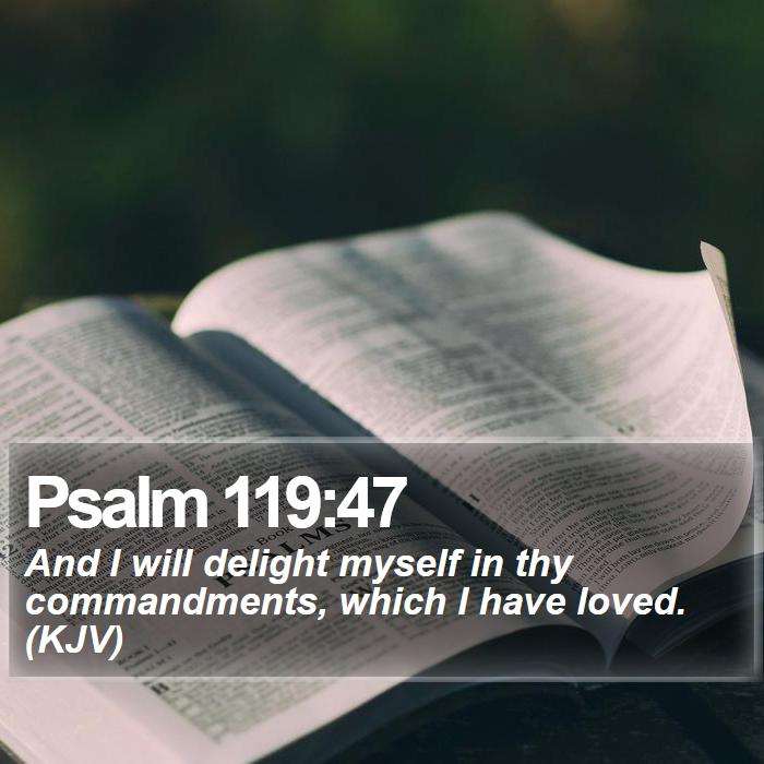 Psalm 119:47 - And I will delight myself in thy commandments, which I have loved. (KJV)