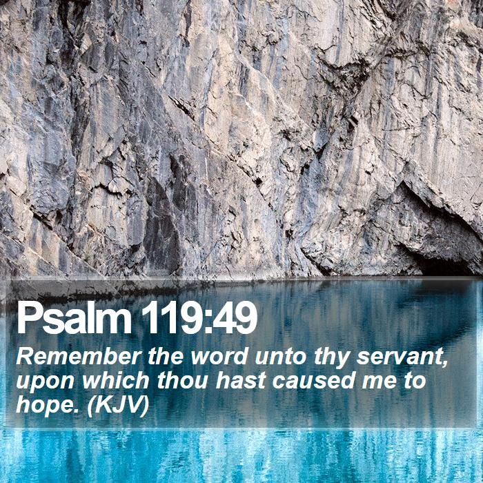 Psalm 119:49 - Remember the word unto thy servant, upon which thou hast caused me to hope. (KJV)