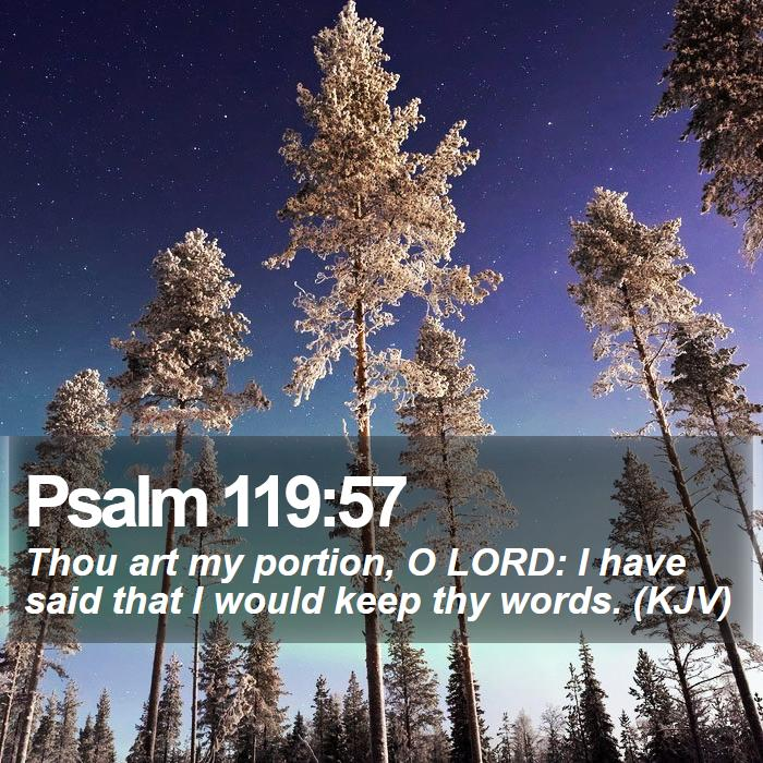 Psalm 119:57 - Thou art my portion, O LORD: I have said that I would keep thy words. (KJV)