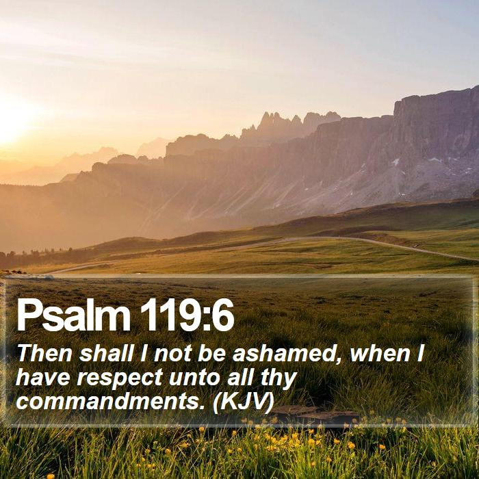 Psalm 119:6 - Then shall I not be ashamed, when I have respect unto all thy commandments. (KJV)