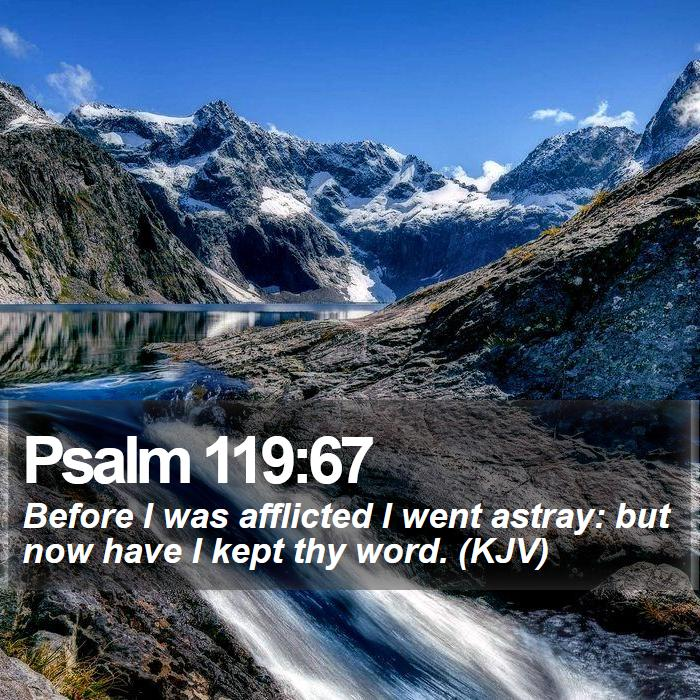 Psalm 119:67 - Before I was afflicted I went astray: but now have I kept thy word. (KJV)