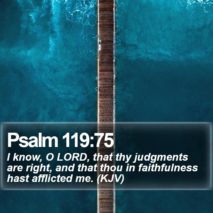 Psalm 119:75 - I know, O LORD, that thy judgments are right, and that thou in faithfulness hast afflicted me. (KJV)