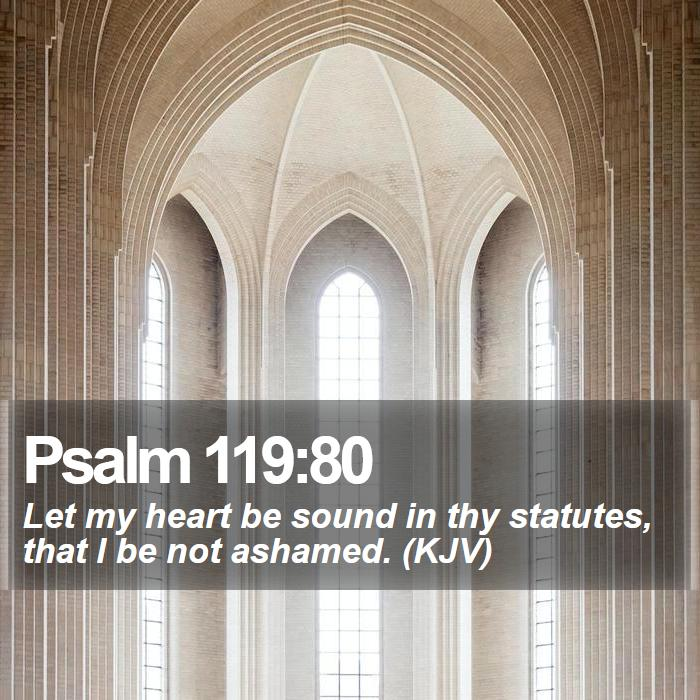 Psalm 119:80 - Let my heart be sound in thy statutes, that I be not ashamed. (KJV)