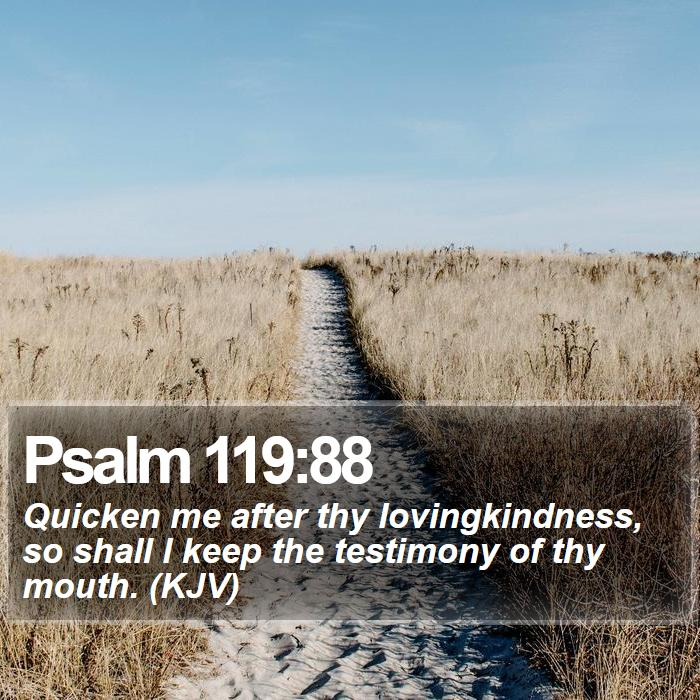 Psalm 119:88 - Quicken me after thy lovingkindness, so shall I keep the testimony of thy mouth. (KJV)