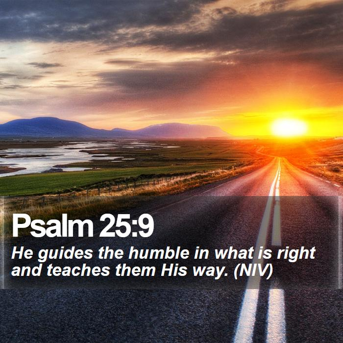 Psalm 25:9 - He guides the humble in what is right and teaches them His way. (NIV)