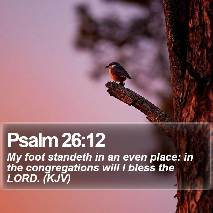 Psalm 26:12 - My foot standeth in an even place: in the congregations will I bless the LORD. (KJV)