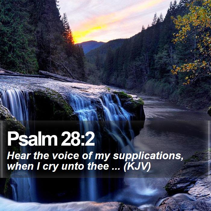 Psalm 28:2 - Hear the voice of my supplications, when I cry unto thee ... (KJV)