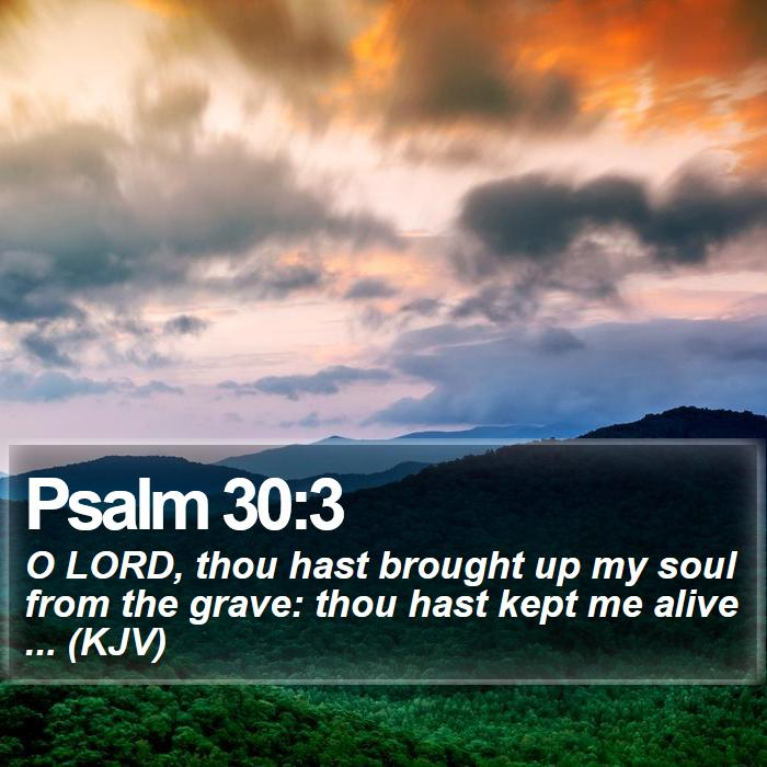 Psalm 30:3 - O LORD, thou hast brought up my soul from the grave: thou hast kept me alive ... (KJV)