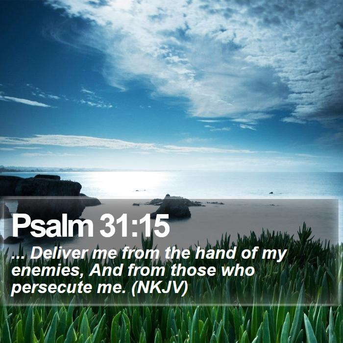 Psalm 31:15 - ... Deliver me from the hand of my enemies, And from those who persecute me. (NKJV)