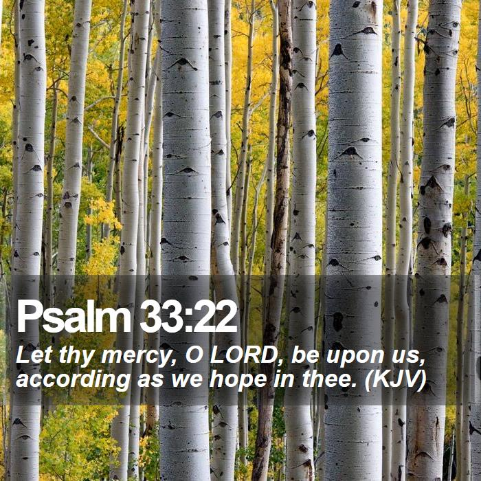 Psalm 33:22 - Let thy mercy, O LORD, be upon us, according as we hope in thee. (KJV)