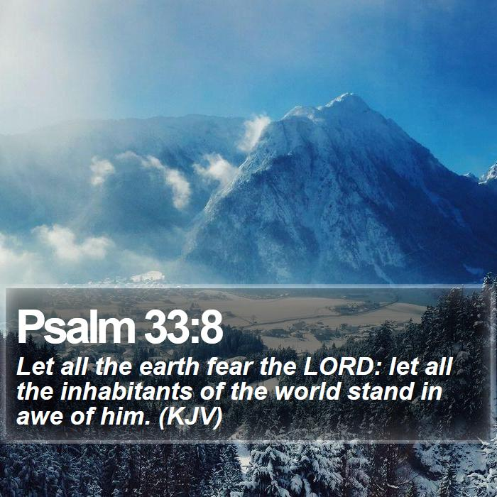 Psalm 33:8 - Let all the earth fear the LORD: let all the inhabitants of the world stand in awe of him. (KJV)